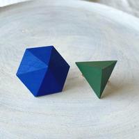 六角形&三角形イヤリング (セット) ブルー/グリーン