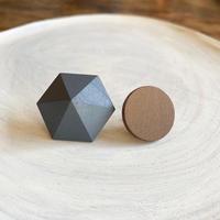 六角形&サークルピアス(セット) スモークネイビー/ブラウン