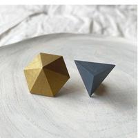 六角形&三角形ピアス(セット) ゴールド/スモークブルー