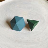 六角形&三角形ピアス(セット)ターコイズ/グリーン