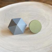 六角形&サークルイヤリング(セット) アイスランドブルー/ピスタチオ