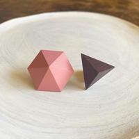 六角形&三角形ピアス(セット) ピンク/プラム