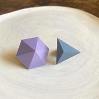 六角形&三角形ピアス(セット) アイリス/ブルー
