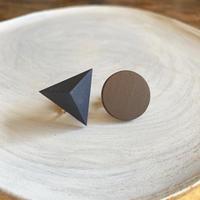 三角形&サークルイヤリング(セット) スモークネイビー/ブラウン