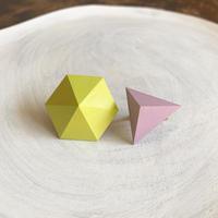 六角形&三角形イヤリング(セット) レモンイエロー/ライラック