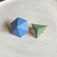 六角形&三角形イヤリング(セット)コバルトブルー/ピーグリーン