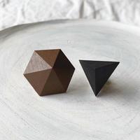 六角形&三角形ピアス(セット) ブラウン/ブラック