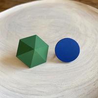 六角形&サークルイヤリング(セット) グリーン/ブルー
