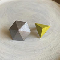 六角形&三角形イヤリング(セット) シルバー/レモンイエロー