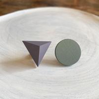 三角形&サークルピアス(セット) スモーキーパープル/アーモンドグリーン
