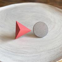 三角形&サークルピアス(セット) ピンク/シルバー