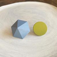 六角形&サークルピアス(セット) ブルー/ライムグリーン