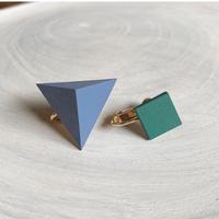 三角形&スクエア イヤリング(セット) スモークブルー/エメラルドグリーン