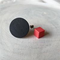 サークル&キューブピアス(セット) ブラック/ピンク