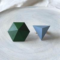 六角形&三角形イヤリング(セット) グリーン/ブルー