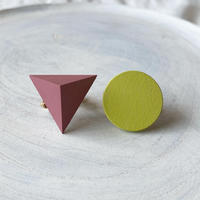 三角形&サークルイヤリング(セット) ストロベリーピンク/レモンイエロー