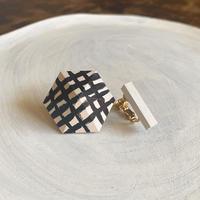 六角形&バーイヤリング(セット) ホワイト(チェック)/ホワイト