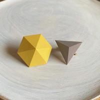 六角形&三角形イヤリング(セット)イエロー/グレー