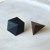 六角形&三角形イヤリング(セット)ブラック/ブラウン