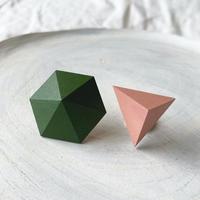 六角形&三角形ピアス(セット) グリーン/ピンク