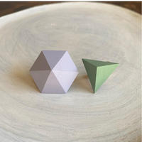 六角形&三角形イヤリング(セット) ラベンダー/アーモンドグリーン