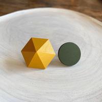 六角形&サークルピアス(セット) イエロー/グリーン
