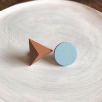 サークル&三角形ピアス(セット)ウォルナット/ベビーブルー