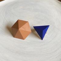 六角形&三角形イヤリング(セット)カフェオレ/マリンブルー