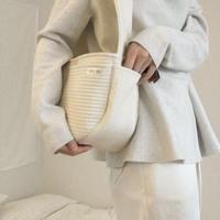 SEO_RU ネーム刺繍入り ベーシックキルティングバッグ White L