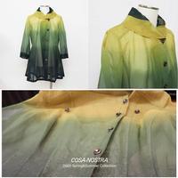 綿オーガンジー素材 グラデーションプリント ロングジャケット(3色)