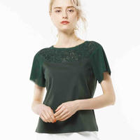 胸元 刺繍使いレース Tシャツ 3色(袖チュールレース)