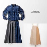 タフタ素材×ウール素材 切り替えスカート