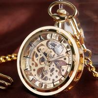懐中時計ネックレス  ゴールド  手巻き式  スケルトン  メンズ  ヴィンテージ  ポケットウォッチ  EI23