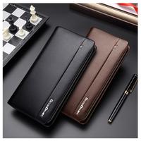 メンズ  長財布  レザー  ファスナー付き  クラッチ  ビジネス  財布  高品質  海外人気ブランド  BISON DENIM  大容量  ブラック  ブラウン  EG52