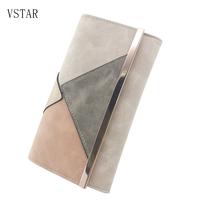 VSTON  レディース長財布  スエード素材  大容量  幾何学柄  グレー/ブラック/ワインレッド/ベージュ  EG05