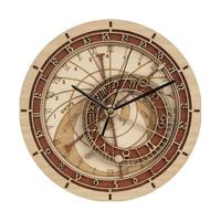 掛け時計  壁時計  アンティーク  ローマ数字  ダイヤル  プラハ  天文時計  デザイン  木製   EI14