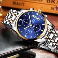 OLMECA  高級  超人気ブランド  メンズ腕時計  クオーツ時計 クロノグラフ カレンダー  カジュアル  30m 防水 シルバー&ブルー  EC69