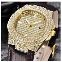 CKEYIN  メンズ腕時計  日本未発売   ノーチラス風  レザー  LA発  高級  パヴェダイヤカスタム   EC59