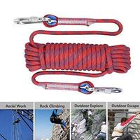 登山用  クライミングロープ  カラビナ付  直径10mm 20メートル  高強度  耐荷重1200kg   レッド/ブルー/ブラック  EO14