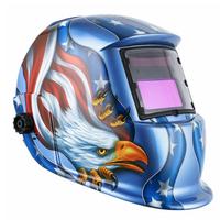 溶接マスク  自動遮光液晶溶接面 自動感光式  自動フィルター ワイドビュータイプ  遮光速度.00003秒 ソーラー充電式 ブルー  ET15