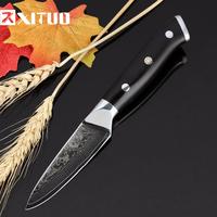 高級包丁  XITUO  海外ブランド  ダマスカス鋼  8cm/3.5インチ  V金10号  67層  果物ナイフ  VG10 EK21