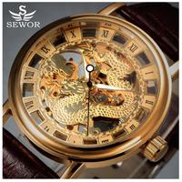 SEWOR  ドラゴン  メンズ腕時計  スケルトン  高級ブランド  メカニカルウォッチ  ゴールド/シルバー/ブラック  龍  レザーウォッチ  カジュアル  EC66