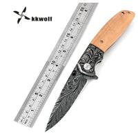 KKWOLF  折り畳みサバイバルナイフ  キャンプ   狩猟  アウトドア   EO12