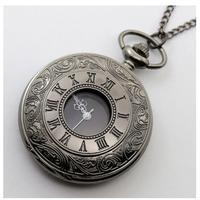 懐中時計  ネックレス  ペンダント  クォーツ時計  ヴィンテージ   ブラック   EI10