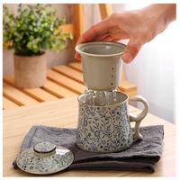 茶こし付き  マグカップ  レトロ  中国茶器  手塗り 吉祥花  花柄  セラミック  磁器  EK42