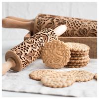 クッキーローラー  クッキー生地  型  模様  4種類  かわいい  木製  EK12