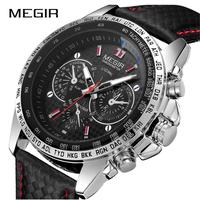 MEGIR  人気商品  メンズ 腕時計 クオーツ時計  クロノグラフ フォーマル カジュアル 2色カラー ブラック/ホワイト  EC70