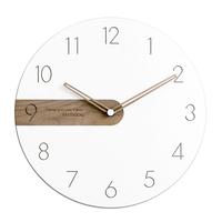 モダン掛け時計  シンプルデザイン  ホワイト  木製  家庭用壁時計  クォーツ時計  リビング  EI24