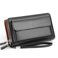 KANGAROO  メンズ  長財布  高級感  ファッション ブラック/ブラウン EG51