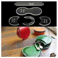 型紙   レザークラフト  コインケース   小銭入れ   円形   アクリル板   透明   革製品   自作   ハンドメイド   ET02